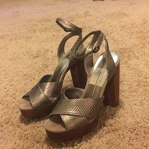 Metallic platform heels